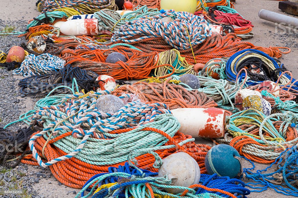 Fishing ropes and Equipment stock photo