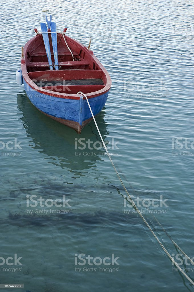 fishing rowboat in little port of Giovinazzo, Apulia (Southern Italy) stock photo