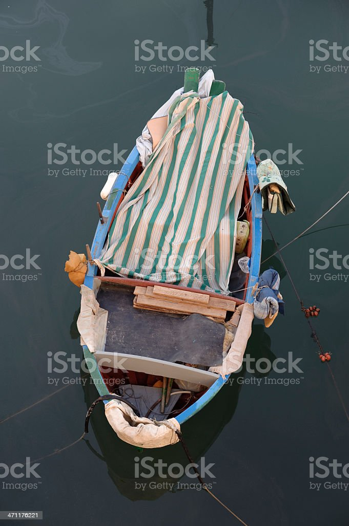 Fishing rowboat in little port of Giovinazzo, Apulia (South Italy) royalty-free stock photo