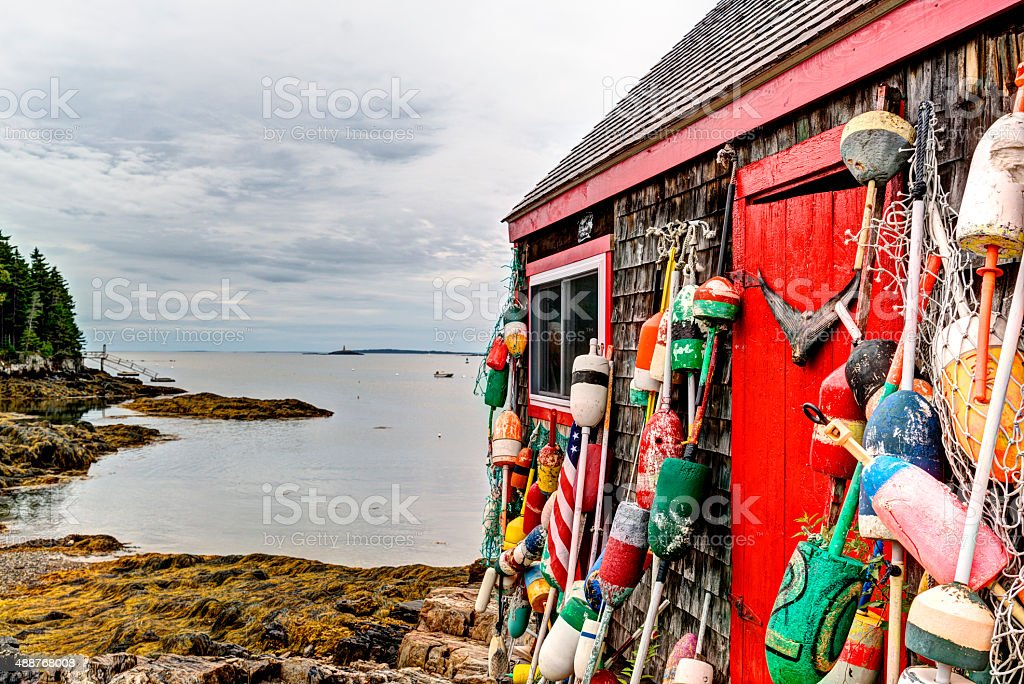 Fishing shack in a Maine harbor stock photo
