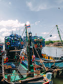 fishing ship parking pier in Thailand