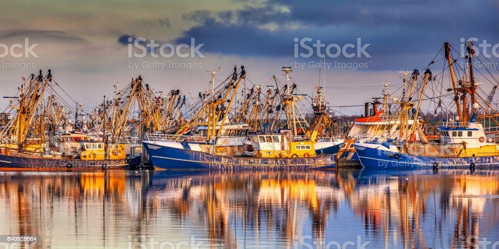 Fishing ships in Lauwersoog stock photo