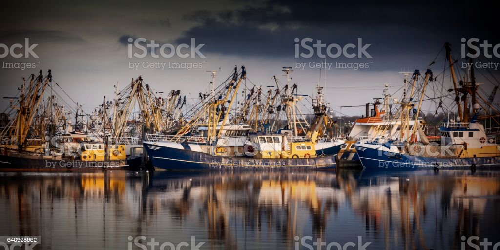Fishing ships in Lauwersoog. Which harbours one of the biggest fishing fleets of the Netherlands stock photo