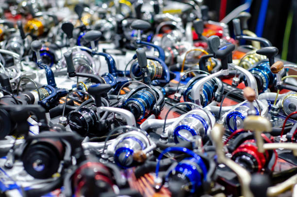 Fishing Spinning Reels for sale. stock photo