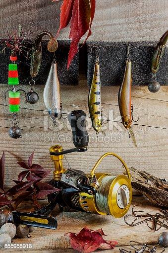 istock Fishing still life 855958916
