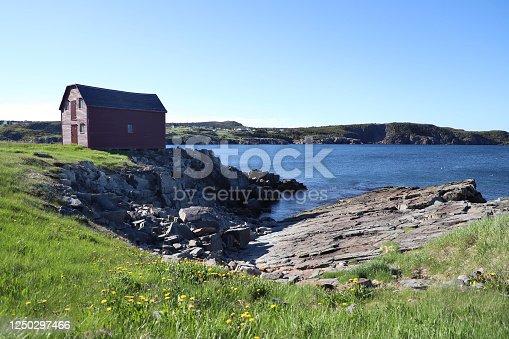 Fishing hut in Elliston Newfoundland along the beautiful sea