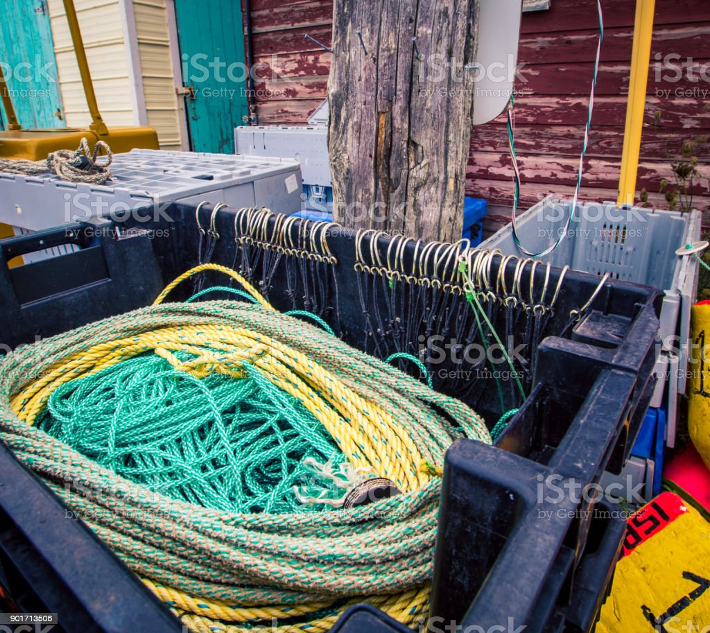 fishing supplies at a harbour stock photo