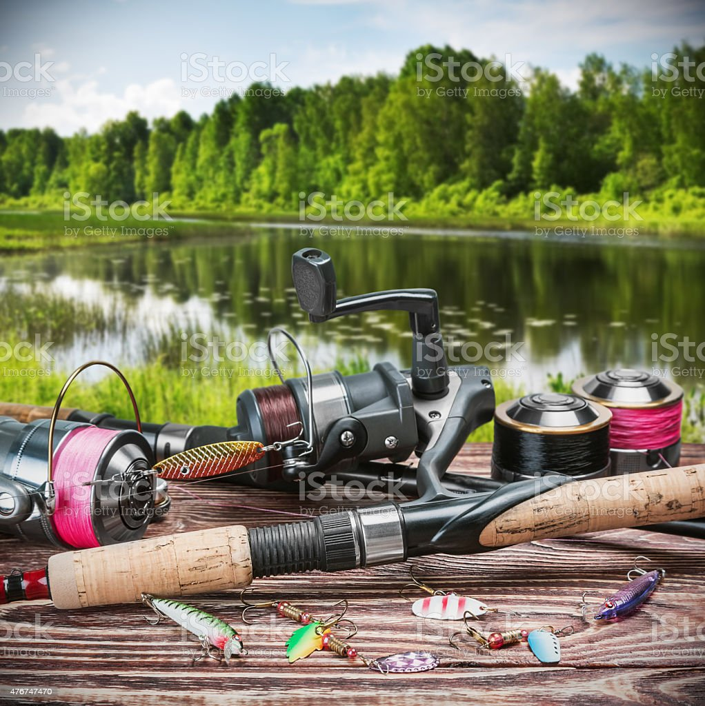 fishing tackle and accessories on the table stock photo
