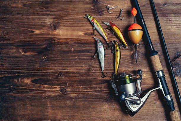 Fishing tackle background. Fishing design elements. Fishing tackle background. Fishing design elements. fishing hook stock pictures, royalty-free photos & images