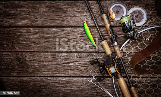 istock Fishing tackle background. Fishing design elements. 897957846