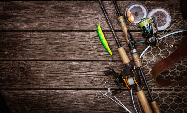 Fishing tackle background. Fishing design elements. - foto stock