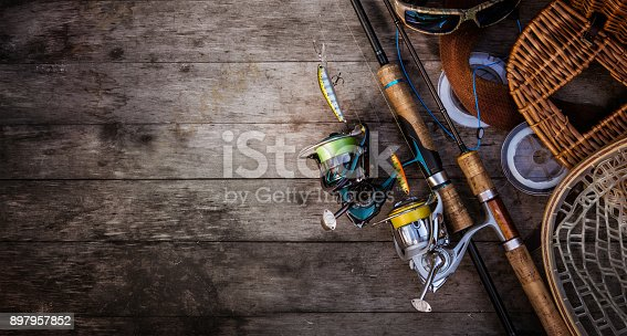 istock Fishing tackle background. Fishing design elements. 897957852