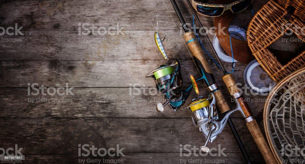 Fishing tackle background. Fishing design elements. stock photo