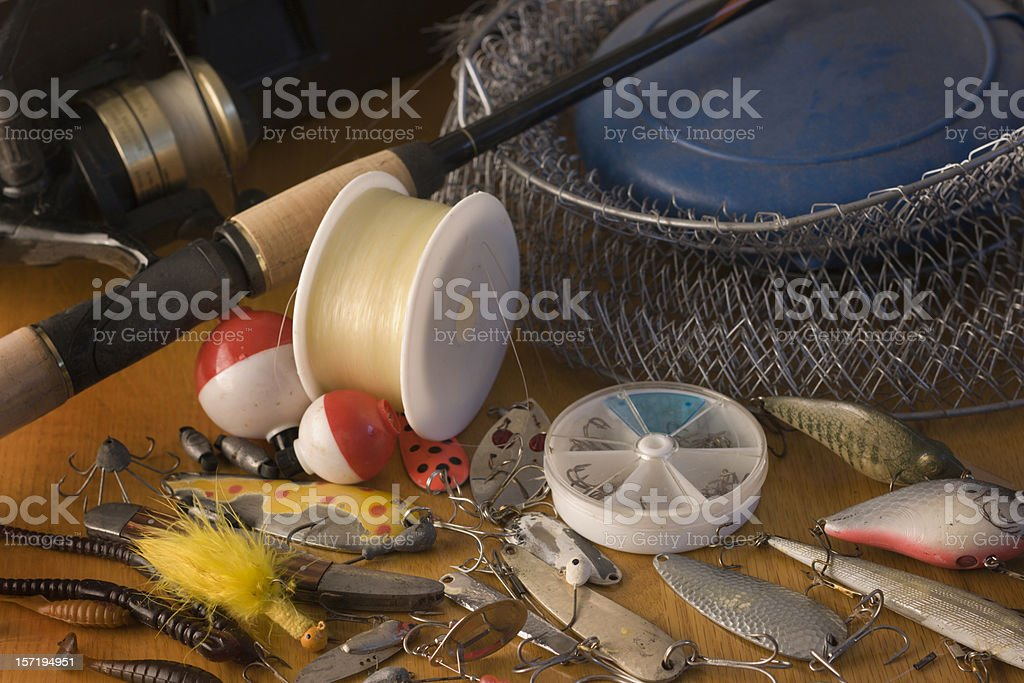 Fishing Tackle, Bait, Hooks, Rods, Bobbers, Nets, Lures and Accessories royalty-free stock photo