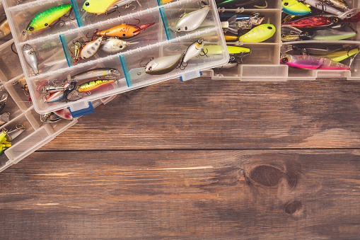 Fishing Tackle Boxes On Wooden Background With Free Space ...