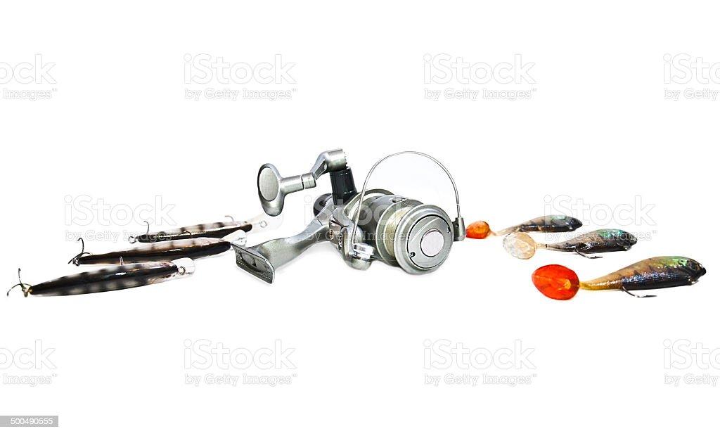 fishing tackle  isolated on white background stock photo