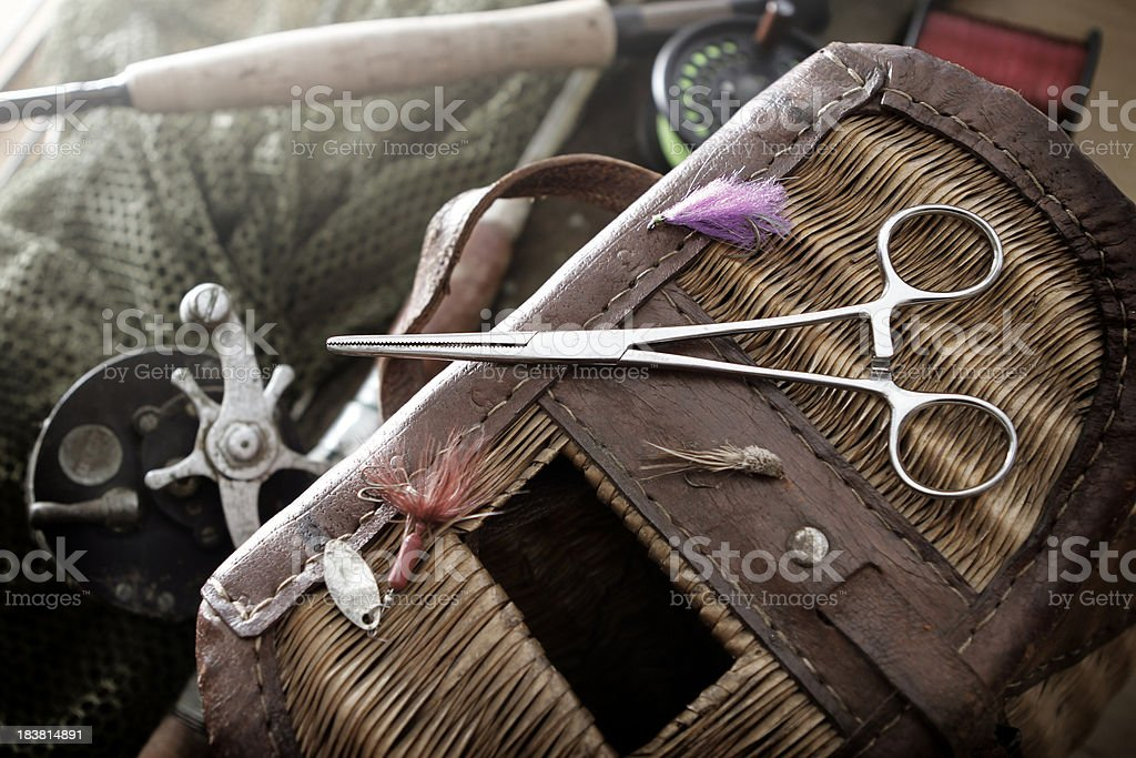 Fishing tackle on a workbench stock photo