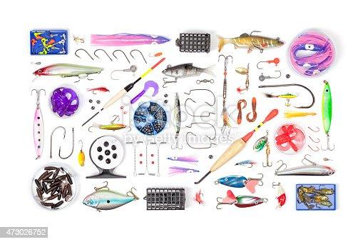 864720746 istock photo fishing tackle on white background 473026752