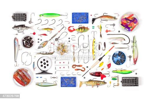 864720746 istock photo fishing tackle on white background 473026758