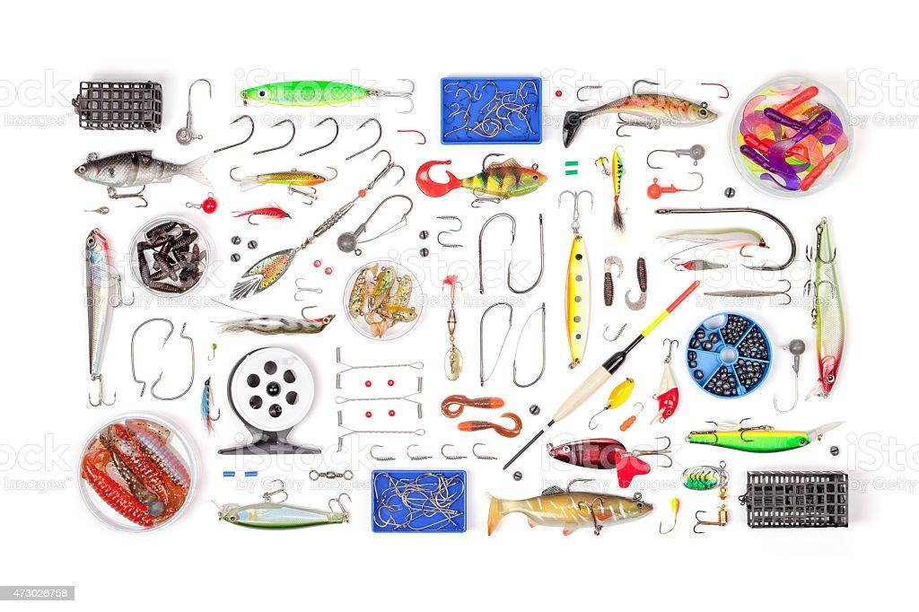 Articles de pêche sur un arrière-plan blanc - Photo