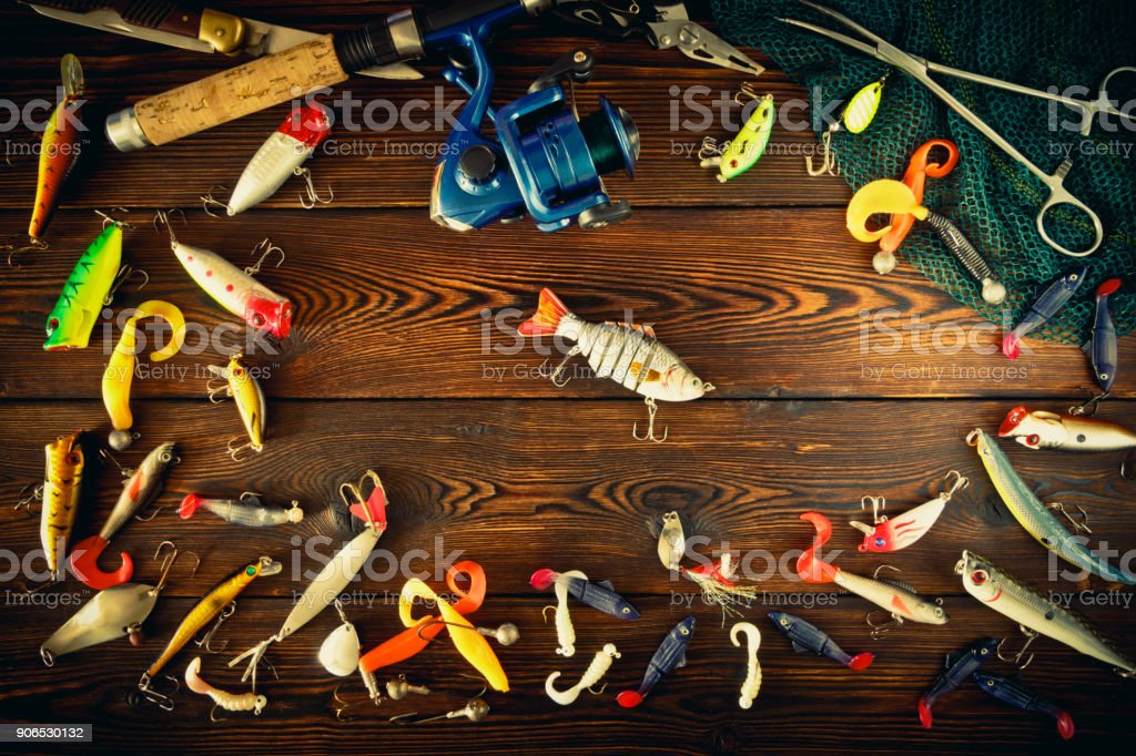 Fishing tackle spinning, still life stock photo