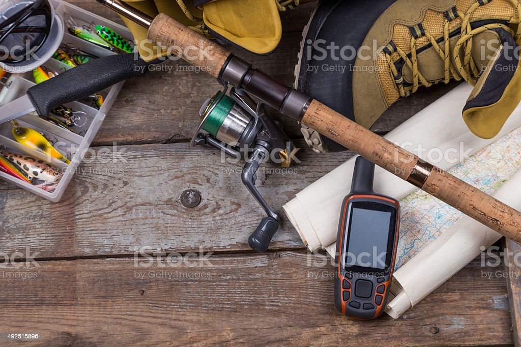fishing tackles and fishing gear stock photo