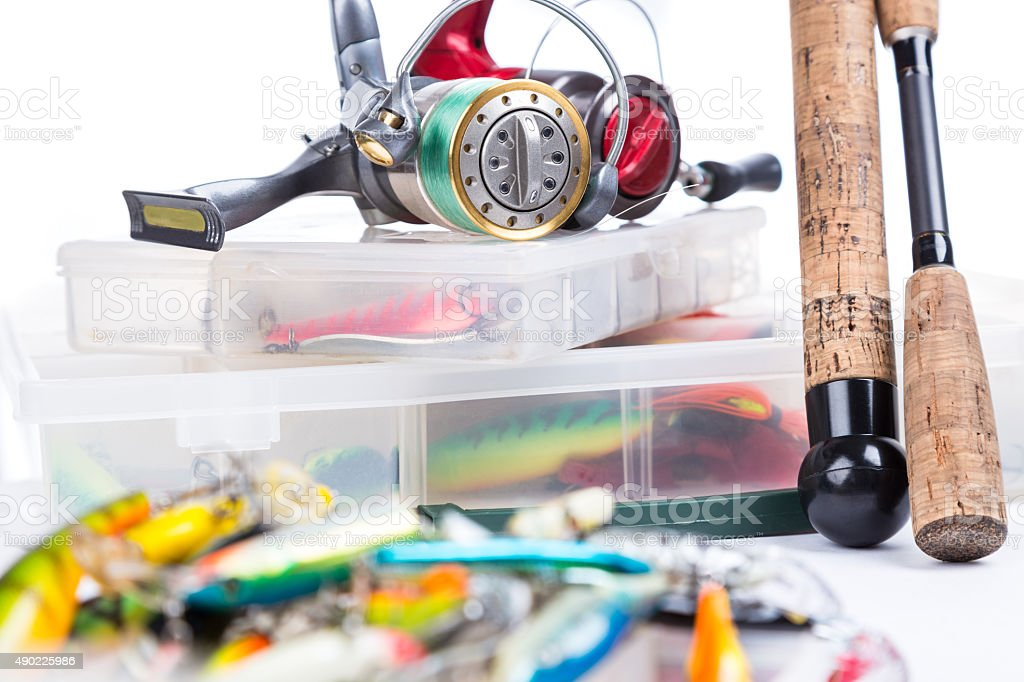 fishing tackles, fishing lure and fishing bait stock photo