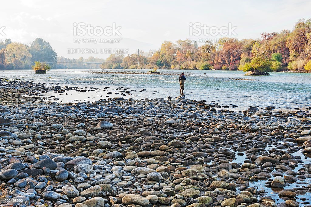 Fishing the Sacramento River at Turtle Bay in Redding stock photo