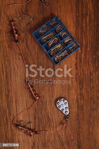 istock Fishing tools, hooks 485707646