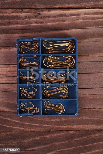 istock Fishing tools, hooks 485708092