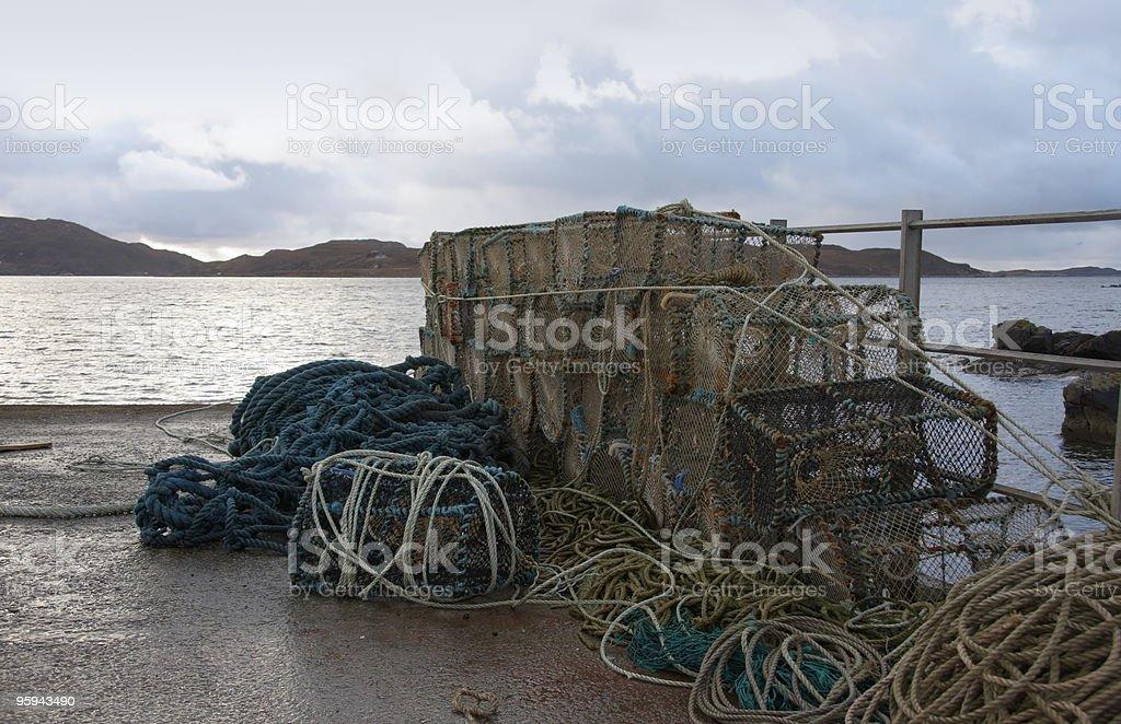 fishing traps in coastal ambiance royalty-free stock photo