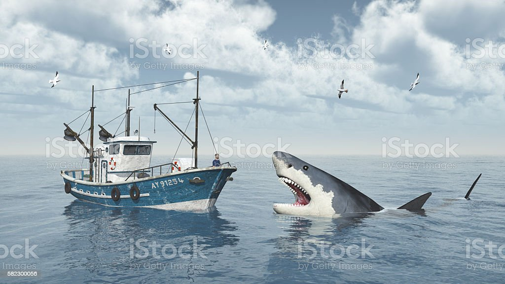 Fishing trawler and great white shark stock photo