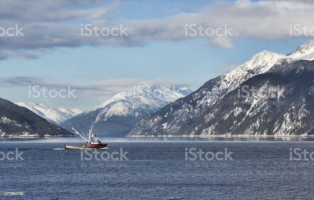Fishing trawler in Portage Cove stock photo