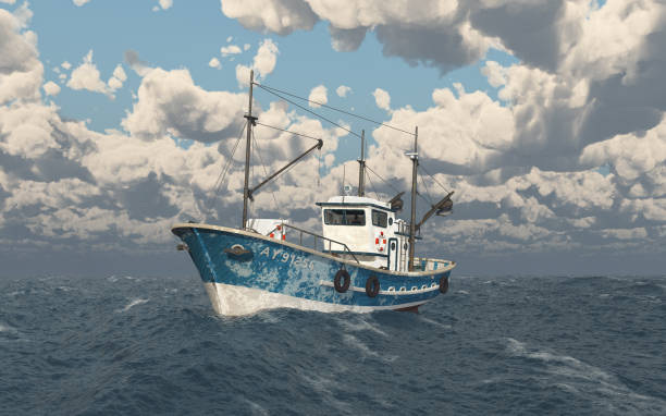 fishing trawler in the stormy sea - fishing boat stock pictures, royalty-free photos & images