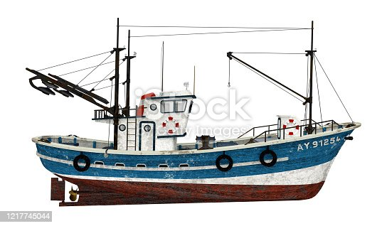 Computer generated 3D illustration with a fishing trawler isolated on white background