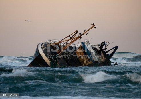 A fishing vessel run aground near Fraserburgh, Scotland