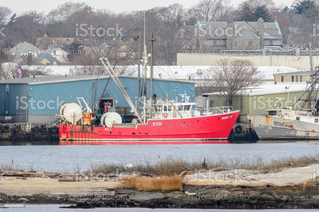 Fishing vessel Mary K unloading stock photo