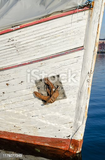 Fishing vessel in Bergen harbour in sunny day