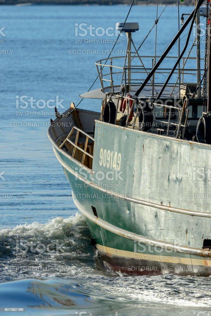 Fishing vessel Sasha Lee heading into Buzzards Bay stock photo