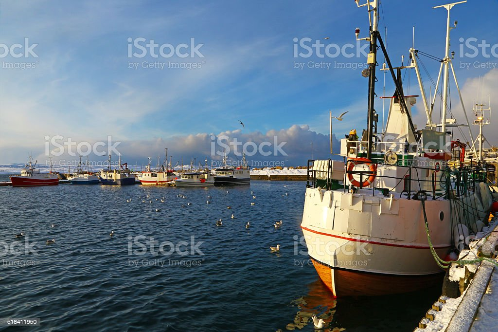Fishing vessels in harbor of Vardo, Norway stock photo
