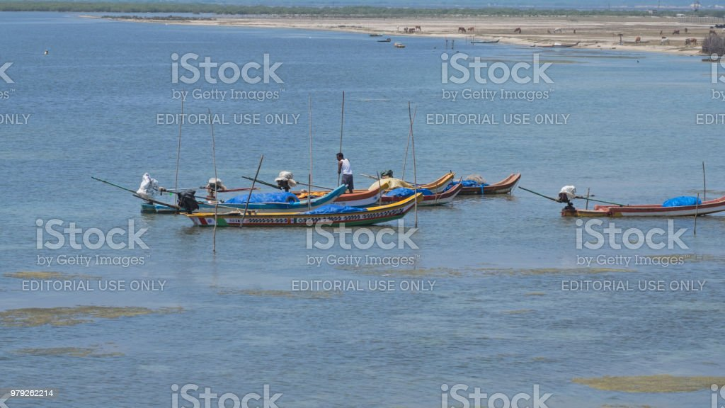 Fishing vessels moored near the Bay of Bengal stock photo