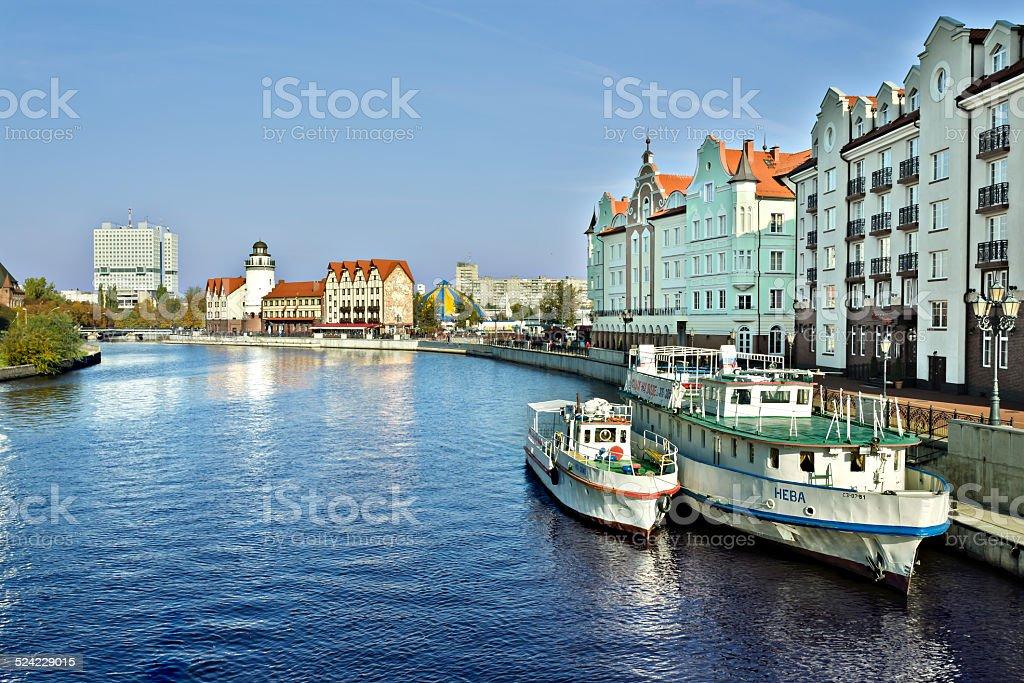 Fishing village and a River station. Kaliningrad (until 1946 Koe stock photo
