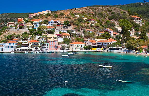 Fishing village at Kefalonia island, Greece stock photo