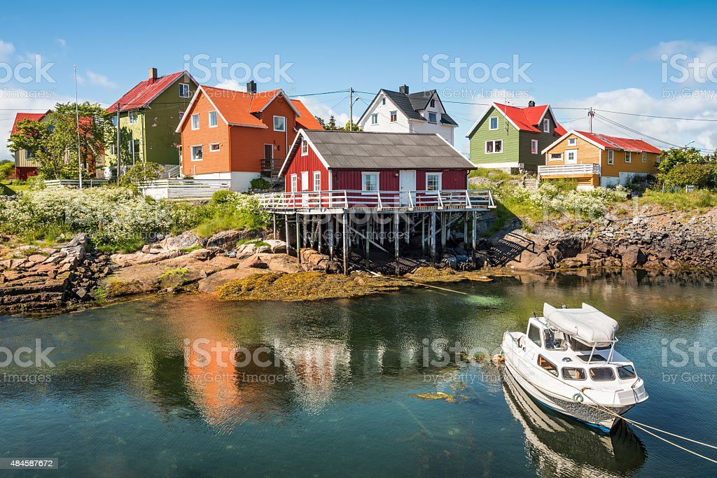 Fishing village Henningsvaer in Lofoten islands, Norway stock photo