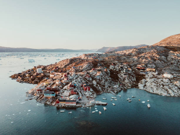 Fishing village in East Greenland stock photo