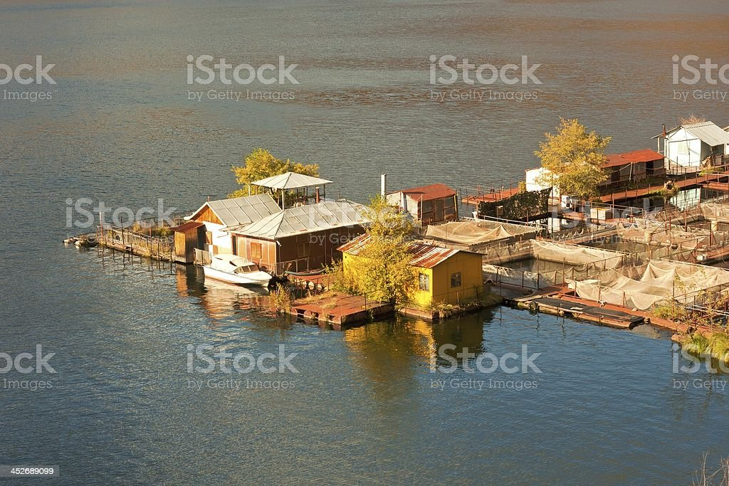 fishing village in fall royalty-free stock photo
