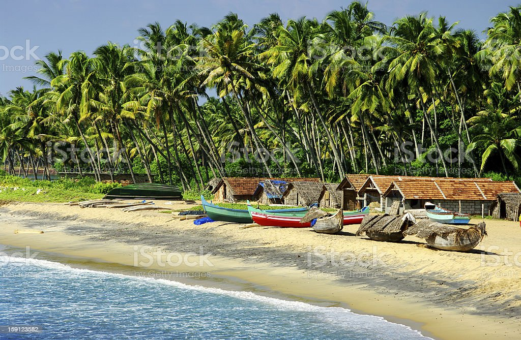 fishing village in Goa stock photo
