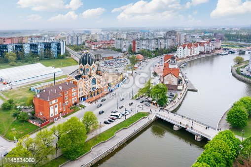 Aerial cityscape of Fishing Village and synagogue of Kaliningrad