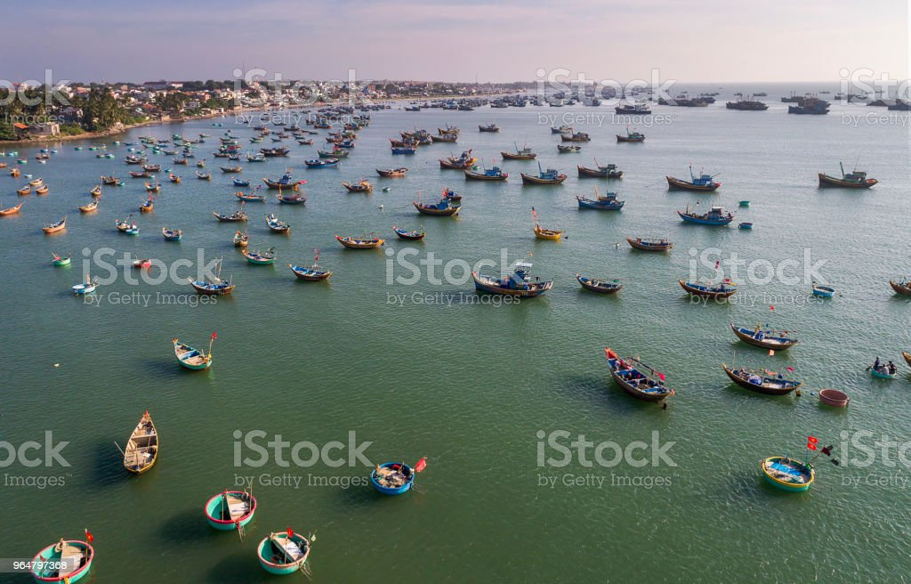 Fishing village in Mui Ne Vietnam and their unique basket boats royalty-free stock photo