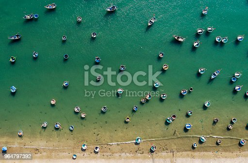 istock Fishing village in Mui Ne Vietnam and their unique basket boats 964797392